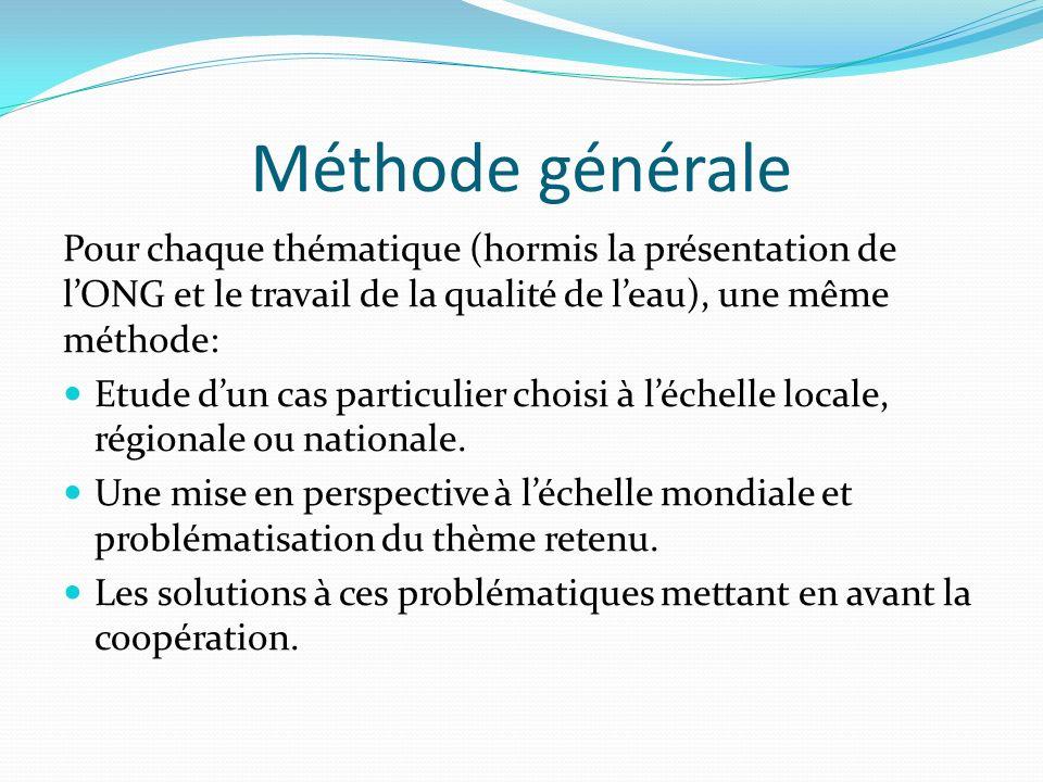 Méthode générale Pour chaque thématique (hormis la présentation de lONG et le travail de la qualité de leau), une même méthode: Etude dun cas particulier choisi à léchelle locale, régionale ou nationale.
