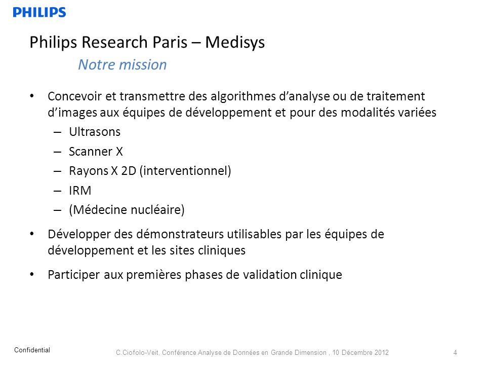 Philips Research Paris – Medisys Notre mission Concevoir et transmettre des algorithmes danalyse ou de traitement dimages aux équipes de développement
