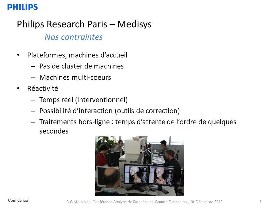 Philips Research Paris – Medisys Nos contraintes Plateformes, machines daccueil – Pas de cluster de machines – Machines multi-coeurs Réactivité – Temp