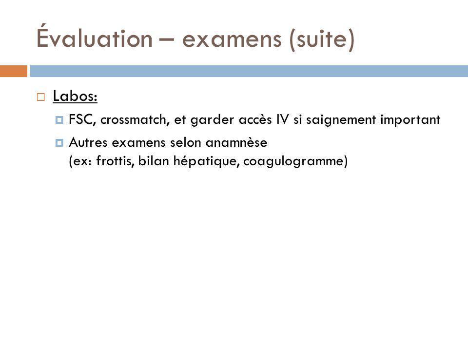 Évaluation – examens (suite) Labos: FSC, crossmatch, et garder accès IV si saignement important Autres examens selon anamnèse (ex: frottis, bilan hépa