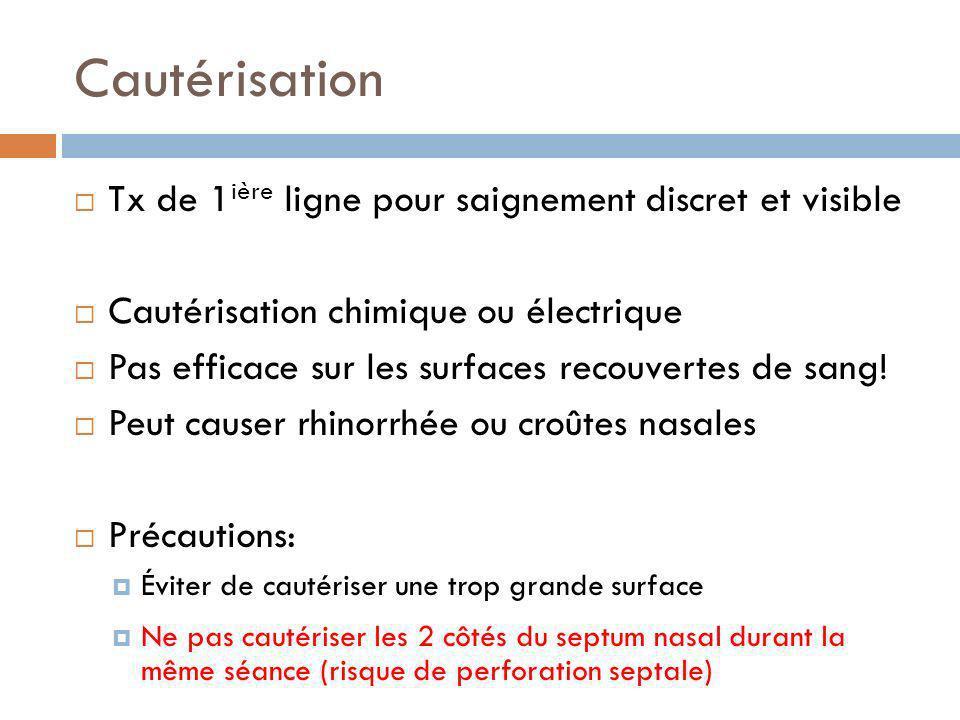 Cautérisation Tx de 1 ière ligne pour saignement discret et visible Cautérisation chimique ou électrique Pas efficace sur les surfaces recouvertes de