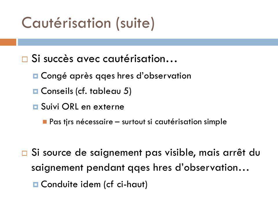 Cautérisation (suite) Si succès avec cautérisation… Congé après qqes hres dobservation Conseils (cf. tableau 5) Suivi ORL en externe Pas tjrs nécessai