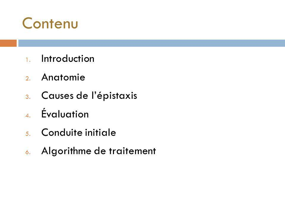 Contenu 1.Introduction 2. Anatomie 3. Causes de lépistaxis 4.