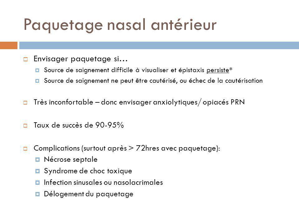 Paquetage nasal antérieur Envisager paquetage si… Source de saignement difficile à visualiser et épistaxis persiste* Source de saignement ne peut être
