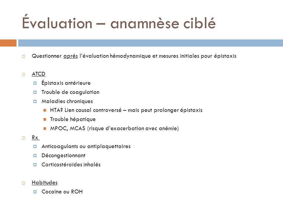Évaluation – anamnèse ciblé Questionner après lévaluation hémodynamique et mesures initiales pour épistaxis ATCD Épistaxis antérieure Trouble de coagu