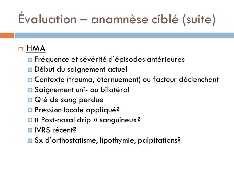 Évaluation – anamnèse ciblé (suite) HMA Fréquence et sévérité dépisodes antérieures Début du saignement actuel Contexte (trauma, éternuement) ou facte