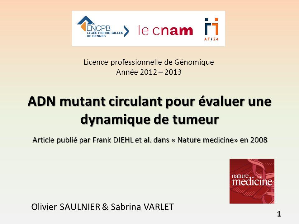ADN mutant circulant pour évaluer une dynamique de tumeur Olivier SAULNIER & Sabrina VARLET Article publié par Frank DIEHL et al.