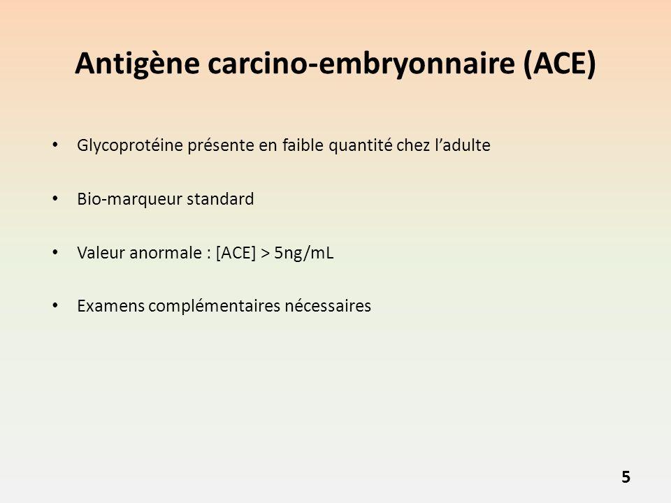 Antigène carcino-embryonnaire (ACE) Glycoprotéine présente en faible quantité chez ladulte Bio-marqueur standard Valeur anormale : [ACE] > 5ng/mL Examens complémentaires nécessaires 5