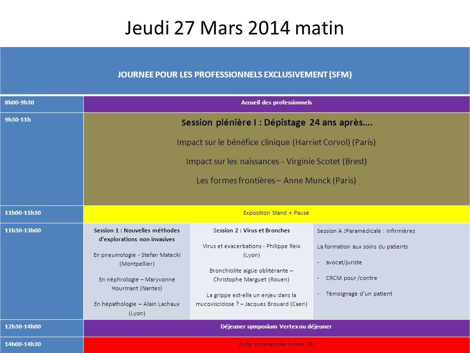 Jeudi 27 Mars 2014 matin JOURNEE POUR LES PROFESSIONNELS EXCLUSIVEMENT (SFM) 8h00-9h30Accueil des professionnels 9h30-11h S ession plénière I : Dépist