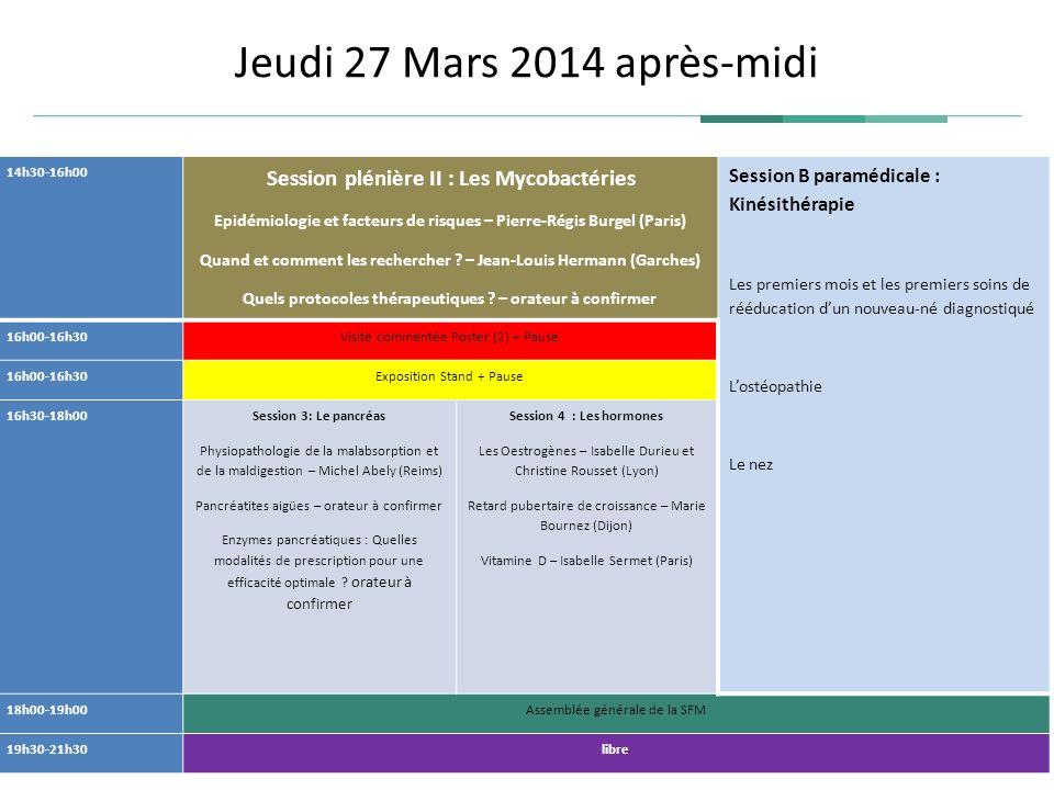 Jeudi 27 Mars 2014 après-midi 14h30-16h00 Session plénière II : Les Mycobactéries Epidémiologie et facteurs de risques – Pierre-Régis Burgel (Paris) Q
