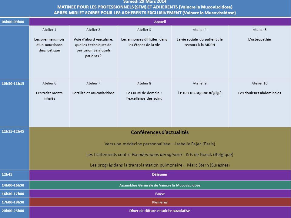 Samedi 29 Mars 2014 MATINEE POUR LES PROFESSIONNELS (SFM) ET ADHERENTS (Vaincre la Mucoviscidose) APRES-MIDI ET SOIREE POUR LES ADHERENTS EXCLUSIVEMEN