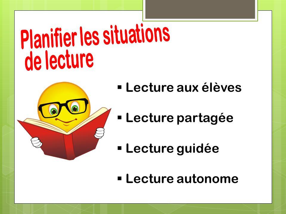 Lecture aux élèves Lecture partagée Lecture guidée Lecture autonome