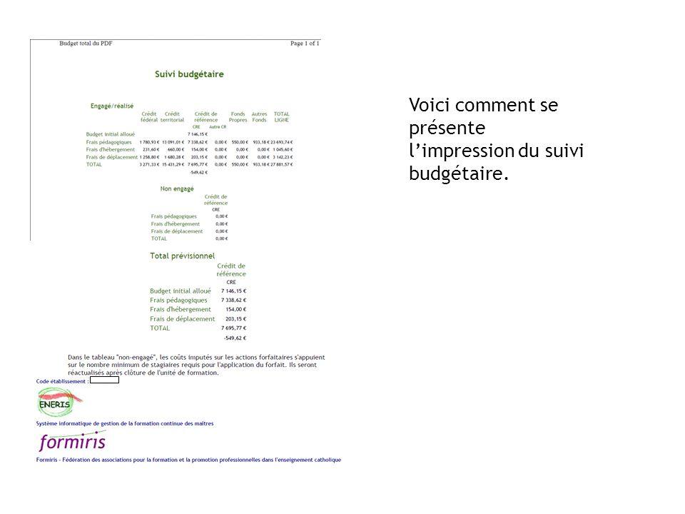 Voici comment se présente limpression du suivi budgétaire.