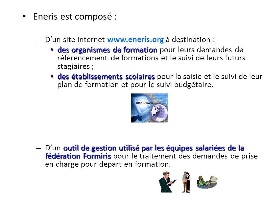 Eneris est composé : – Dun site Internet www.eneris.org à destination : des organismes de formation des organismes de formation pour leurs demandes de référencement de formations et le suivi de leurs futurs stagiaires ; des établissements scolaires des établissements scolaires pour la saisie et le suivi de leur plan de formation et pour le suivi budgétaire.