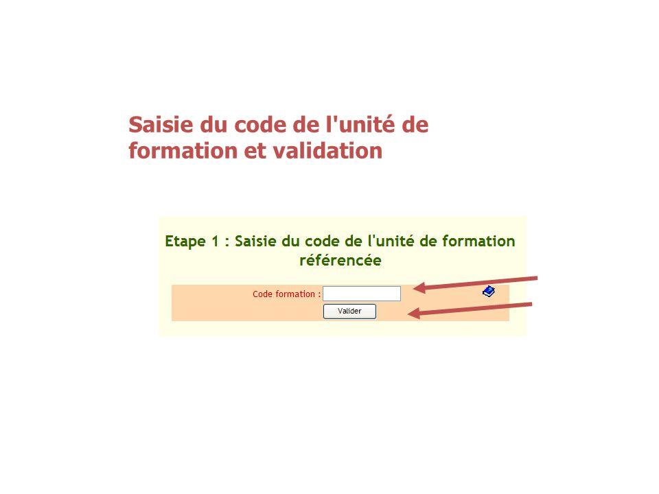 Saisie du code de l'unité de formation et validation