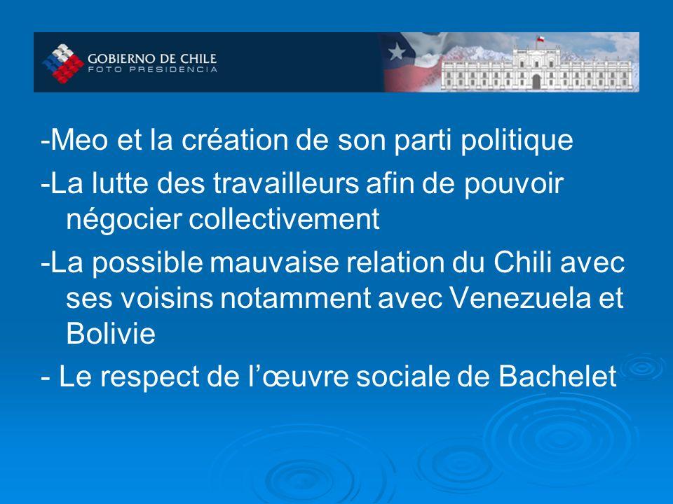-Meo et la création de son parti politique -La lutte des travailleurs afin de pouvoir négocier collectivement -La possible mauvaise relation du Chili avec ses voisins notamment avec Venezuela et Bolivie - Le respect de lœuvre sociale de Bachelet