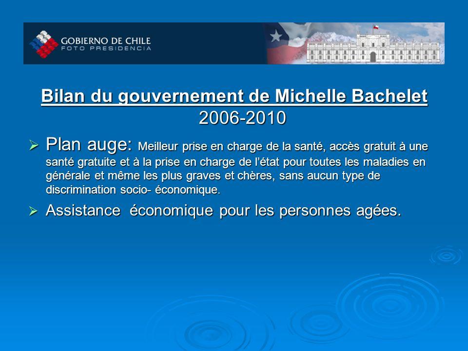 Bilan du gouvernement de Michelle Bachelet 2006-2010 Plan auge: Meilleur prise en charge de la santé, accès gratuit à une santé gratuite et à la prise en charge de létat pour toutes les maladies en générale et même les plus graves et chères, sans aucun type de discrimination socio- économique.