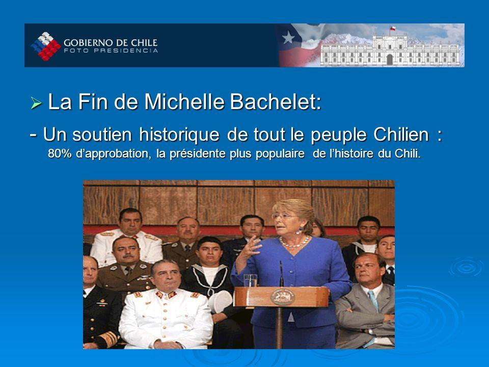 La Fin de Michelle Bachelet: La Fin de Michelle Bachelet: - Un soutien historique de tout le peuple Chilien : 80% dapprobation, la présidente plus populaire de lhistoire du Chili.