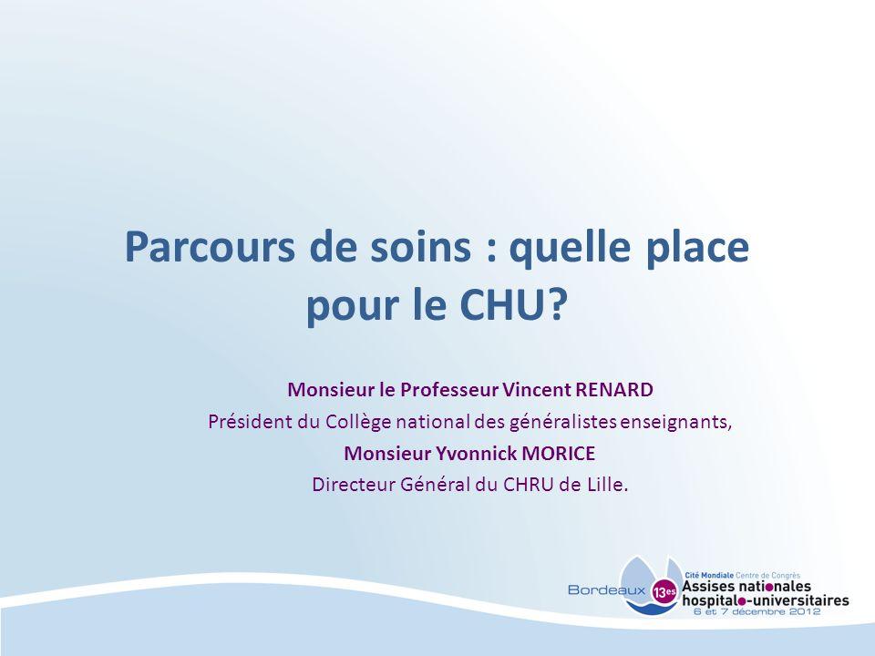 Parcours de soins CHU et Médecine générale Monsieur le Professeur RENARD Président du collège national des généralistes enseignants