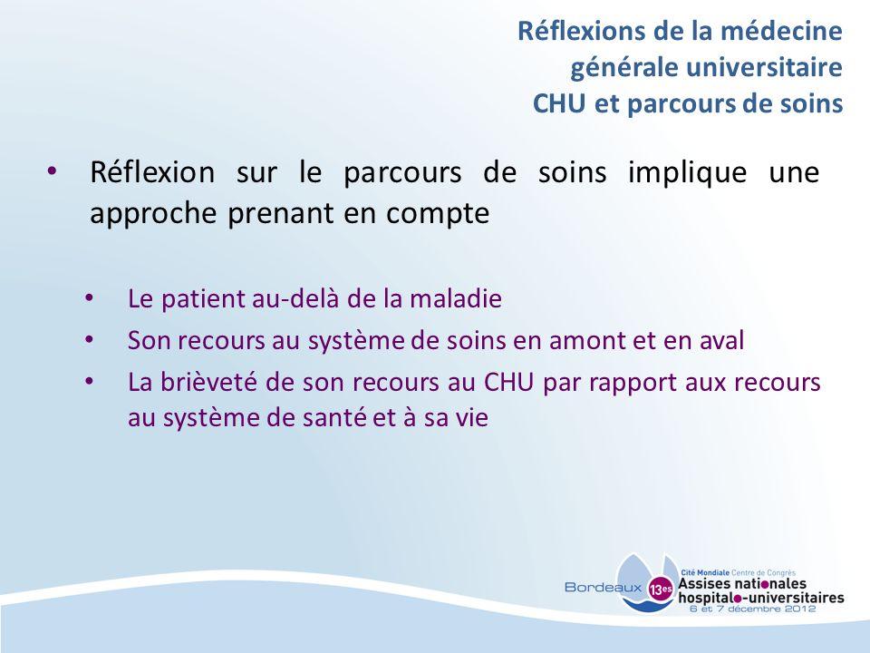 Réflexions de la médecine générale universitaire CHU et parcours de soins Réflexion sur le parcours de soins implique une approche prenant en compte L
