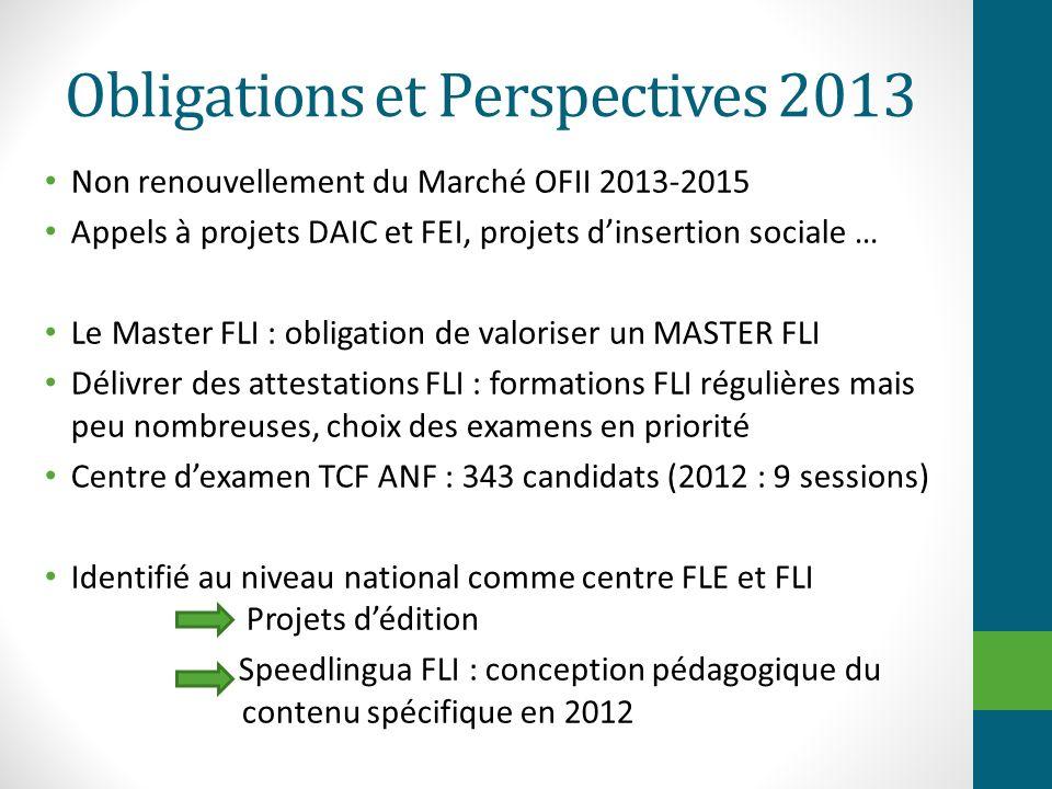Obligations et Perspectives 2013 Non renouvellement du Marché OFII 2013-2015 Appels à projets DAIC et FEI, projets dinsertion sociale … Le Master FLI