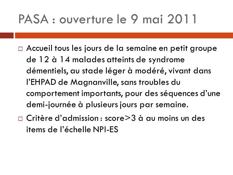PASA : ouverture le 9 mai 2011 Accueil tous les jours de la semaine en petit groupe de 12 à 14 malades atteints de syndrome démentiels, au stade léger