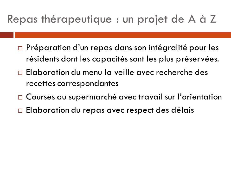 Repas thérapeutique : un projet de A à Z Préparation dun repas dans son intégralité pour les résidents dont les capacités sont les plus préservées. El