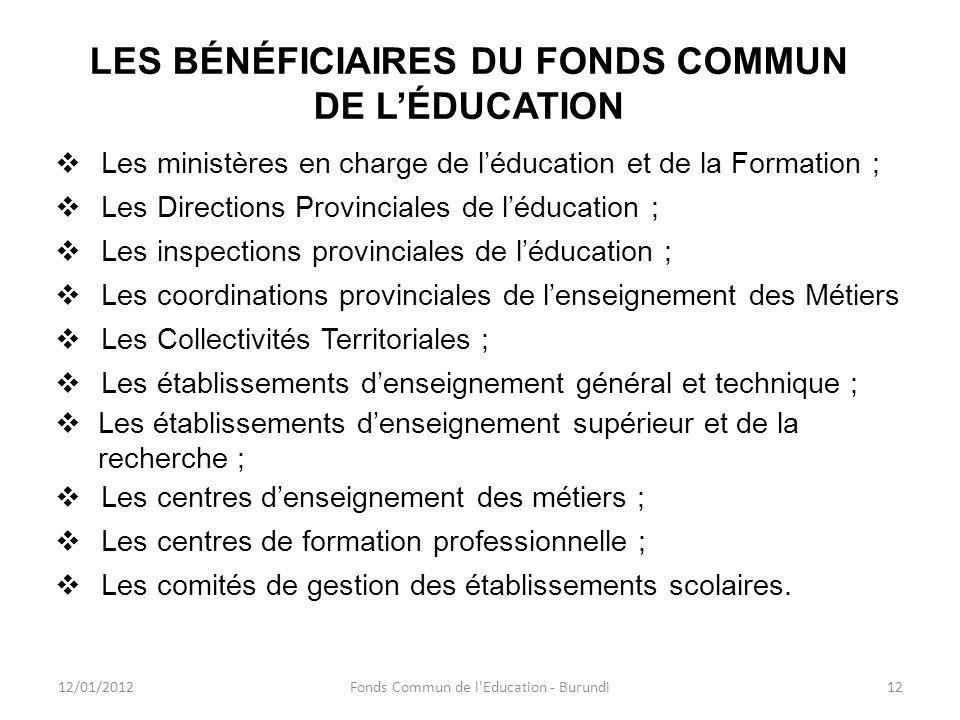 LES BÉNÉFICIAIRES DU FONDS COMMUN DE LÉDUCATION Les ministères en charge de léducation et de la Formation ; Les Directions Provinciales de léducation