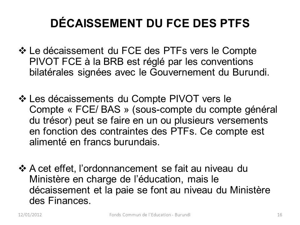 DÉCAISSEMENT DU FCE DES PTFS Le décaissement du FCE des PTFs vers le Compte PIVOT FCE à la BRB est réglé par les conventions bilatérales signées avec