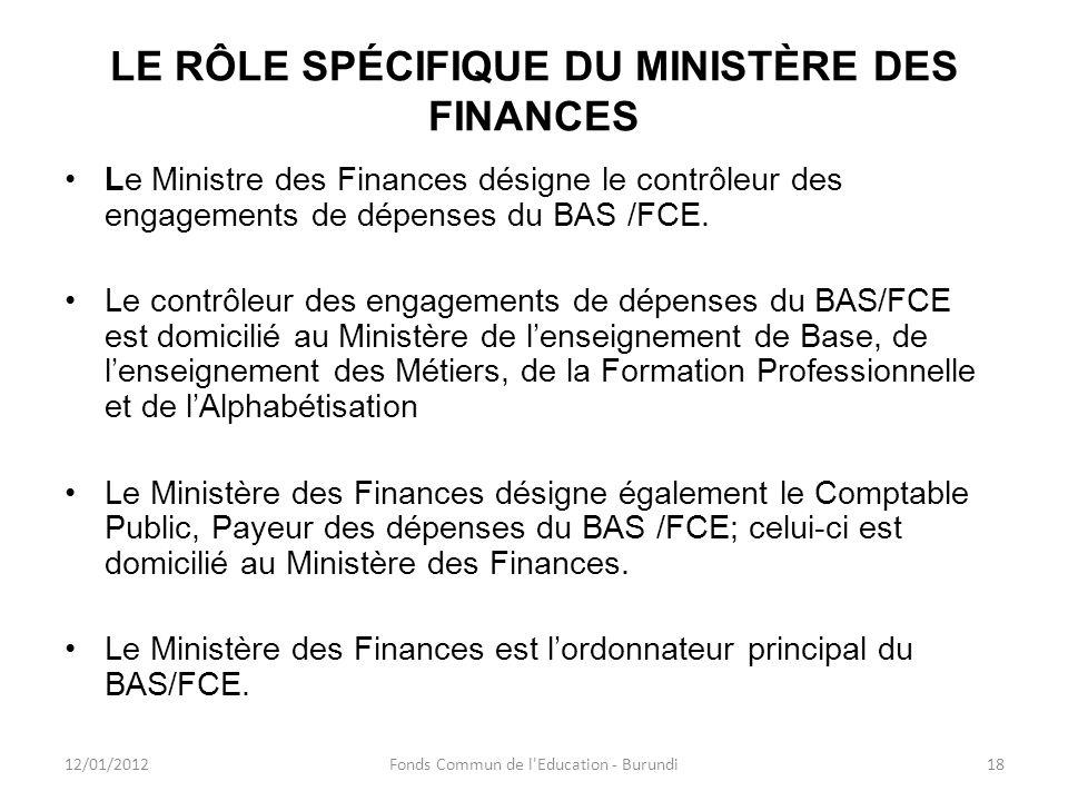 LE RÔLE SPÉCIFIQUE DU MINISTÈRE DES FINANCES Le Ministre des Finances désigne le contrôleur des engagements de dépenses du BAS /FCE. Le contrôleur des