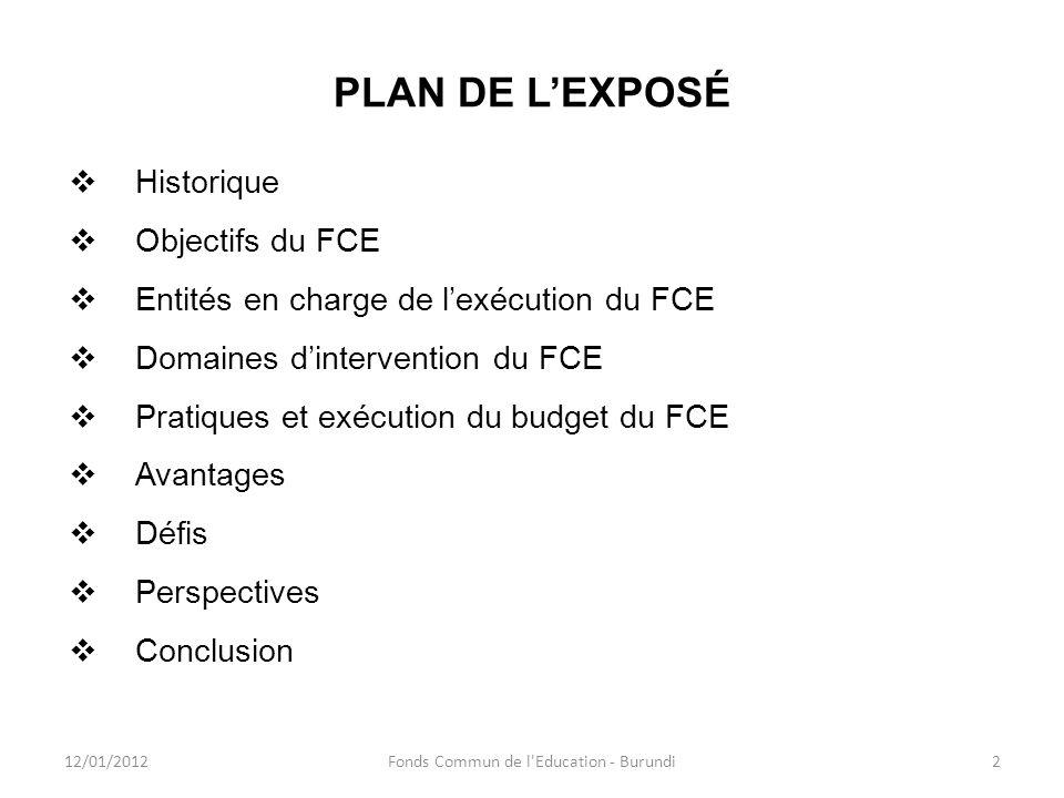 PLAN DE LEXPOSÉ Historique Objectifs du FCE Entités en charge de lexécution du FCE Domaines dintervention du FCE Pratiques et exécution du budget du F