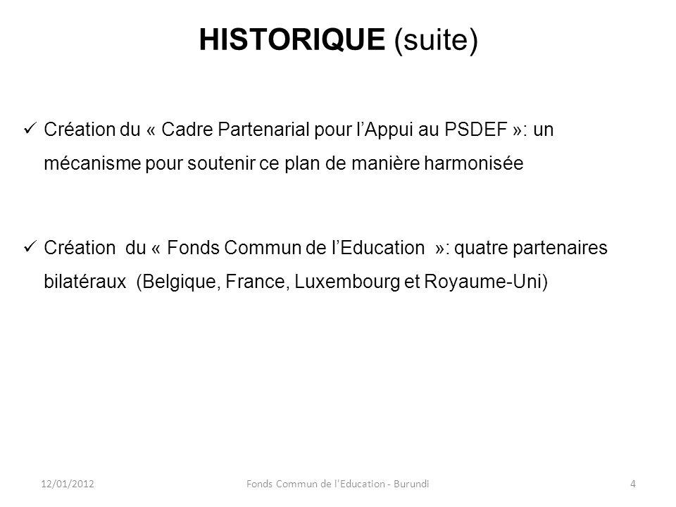 HISTORIQUE (suite) Création du « Cadre Partenarial pour lAppui au PSDEF »: un mécanisme pour soutenir ce plan de manière harmonisée Création du « Fond