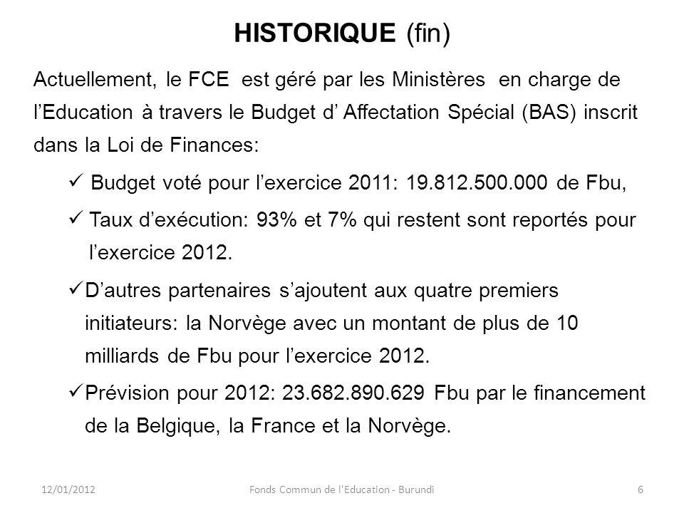 HISTORIQUE (fin) Actuellement, le FCE est géré par les Ministères en charge de lEducation à travers le Budget d Affectation Spécial (BAS) inscrit dans