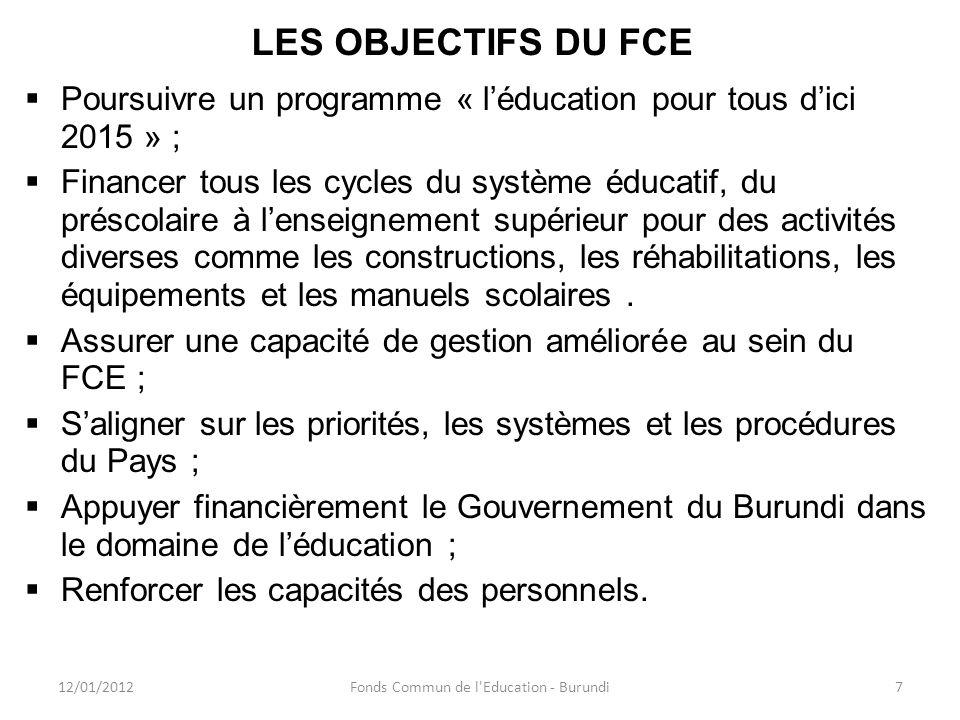 LES OBJECTIFS DU FCE Poursuivre un programme « léducation pour tous dici 2015 » ; Financer tous les cycles du système éducatif, du préscolaire à lense