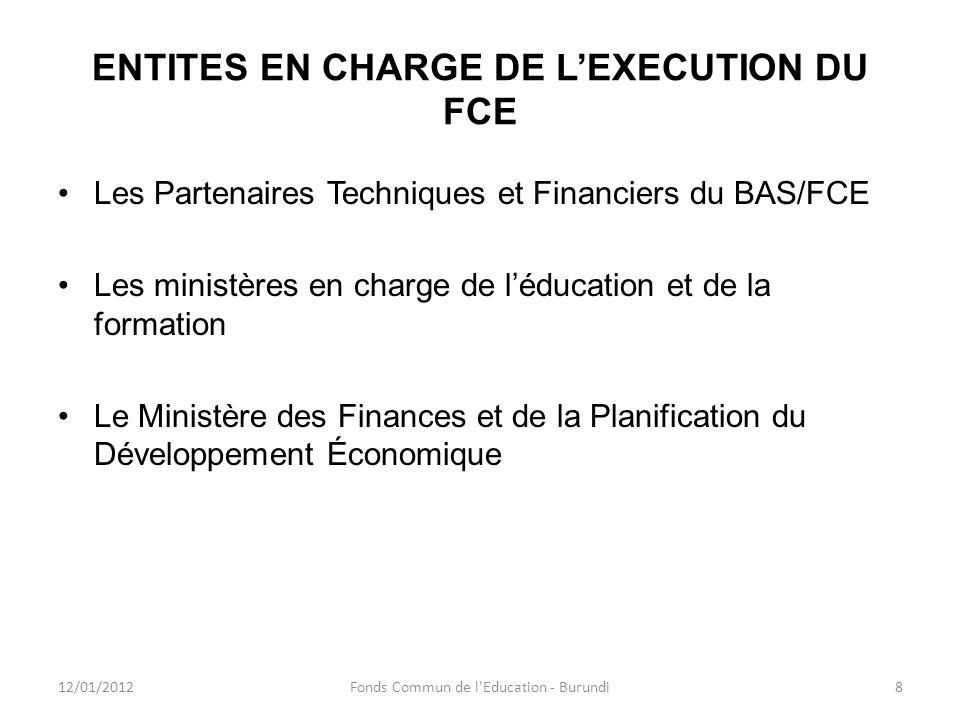 ENTITES EN CHARGE DE LEXECUTION DU FCE Les Partenaires Techniques et Financiers du BAS/FCE Les ministères en charge de léducation et de la formation L