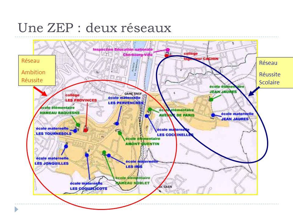 Réseau Ambition Réussite Réseau Réussite Scolaire Une ZEP : deux réseaux