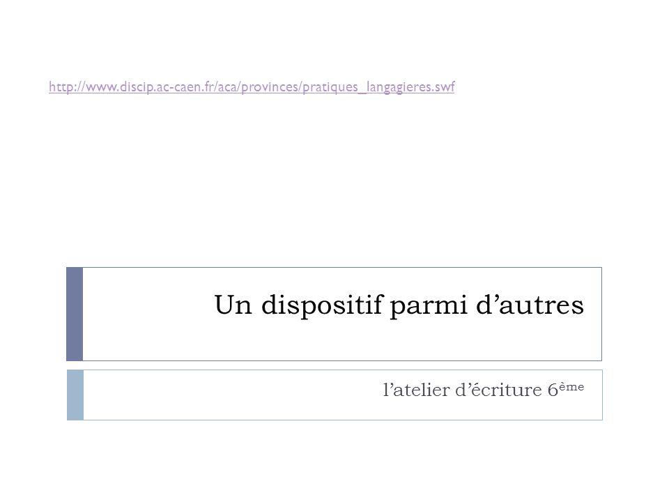 Un dispositif parmi dautres latelier décriture 6 ème http://www.discip.ac-caen.fr/aca/provinces/pratiques_langagieres.swf