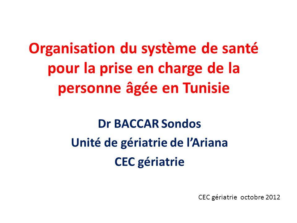Organisation du système de santé pour la prise en charge de la personne âgée en Tunisie Dr BACCAR Sondos Unité de gériatrie de lAriana CEC gériatrie CEC gériatrie octobre 2012