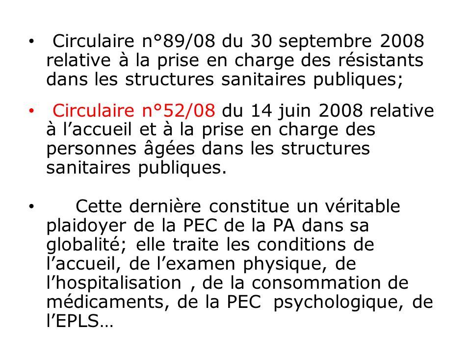 Circulaire n°89/08 du 30 septembre 2008 relative à la prise en charge des résistants dans les structures sanitaires publiques; Circulaire n°52/08 du 1