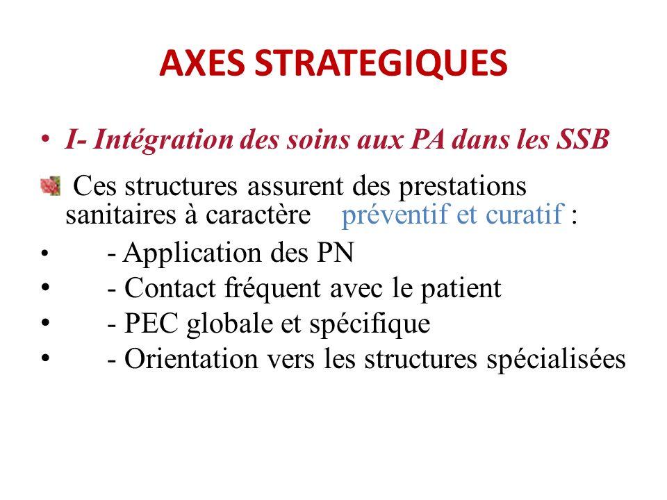 AXES STRATEGIQUES I- Intégration des soins aux PA dans les SSB Ces structures assurent des prestations sanitaires à caractère préventif et curatif : - Application des PN - Contact fréquent avec le patient - PEC globale et spécifique - Orientation vers les structures spécialisées