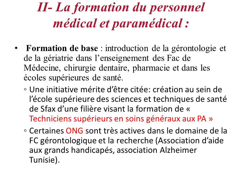 II- La formation du personnel médical et paramédical : Formation de base : introduction de la gérontologie et de la gériatrie dans lenseignement des F