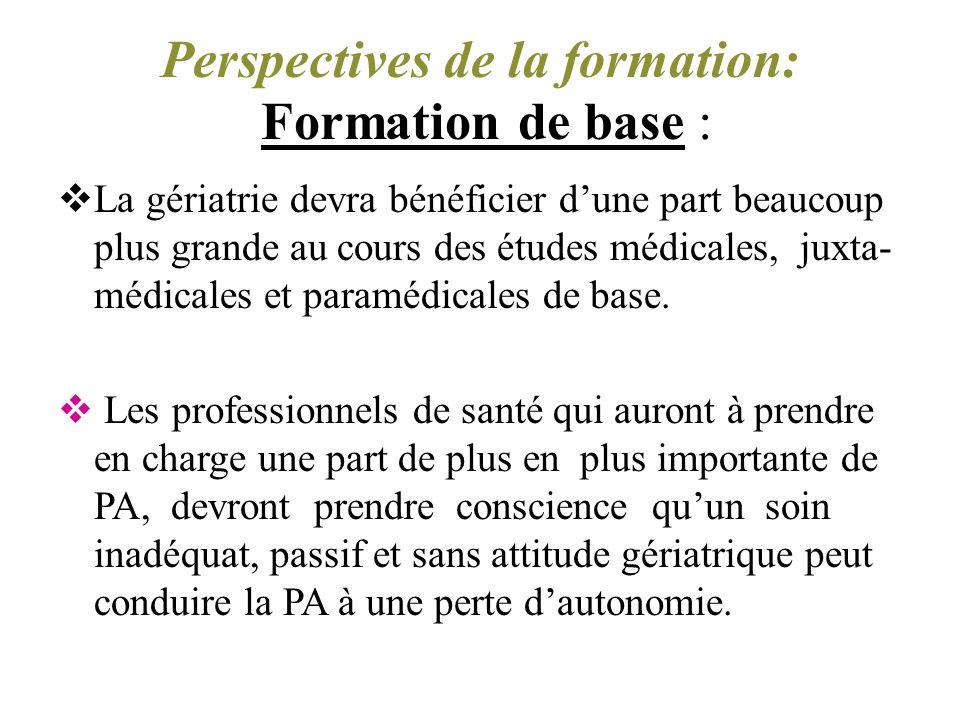 Formation de base Perspectives de la formation: Formation de base : La gériatrie devra bénéficier dune part beaucoup plus grande au cours des études médicales, juxta- médicales et paramédicales de base.
