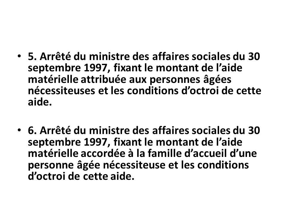 5. Arrêté du ministre des affaires sociales du 30 septembre 1997, fixant le montant de laide matérielle attribuée aux personnes âgées nécessiteuses et