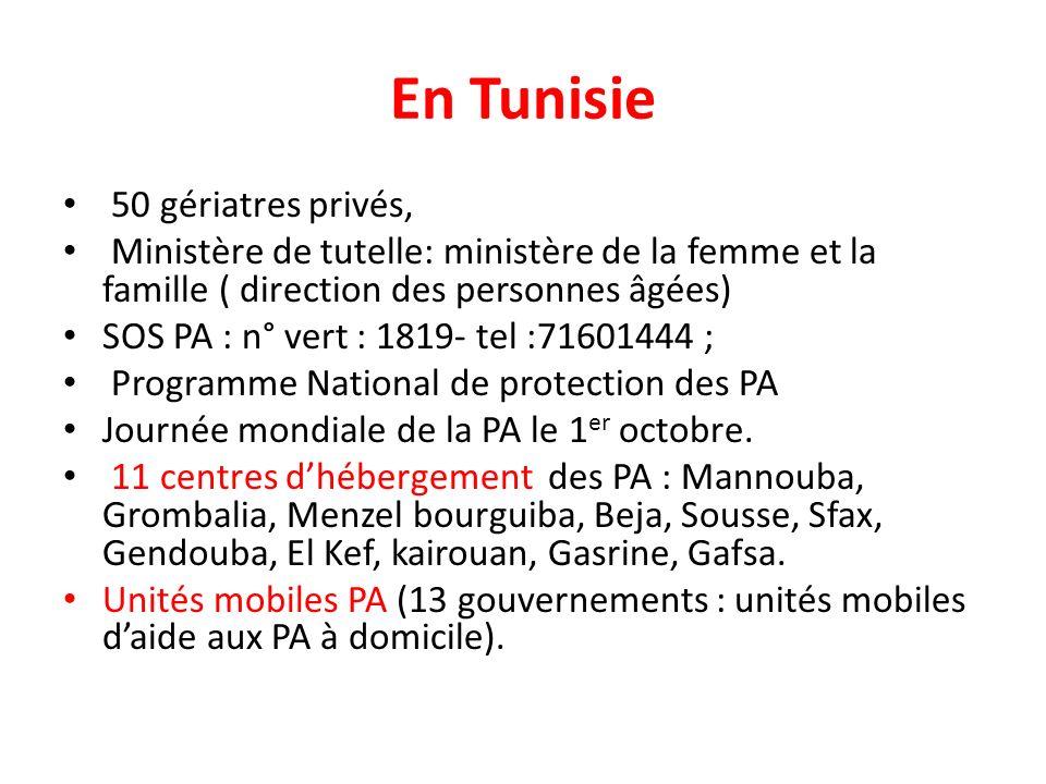 En Tunisie 50 gériatres privés, Ministère de tutelle: ministère de la femme et la famille ( direction des personnes âgées) SOS PA : n° vert : 1819- tel :71601444 ; Programme National de protection des PA Journée mondiale de la PA le 1 er octobre.