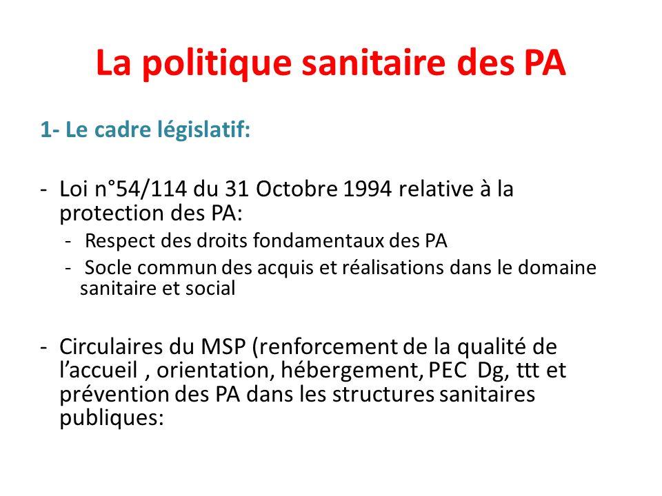 La politique sanitaire des PA 1- Le cadre législatif: -Loi n°54/114 du 31 Octobre 1994 relative à la protection des PA: - Respect des droits fondament