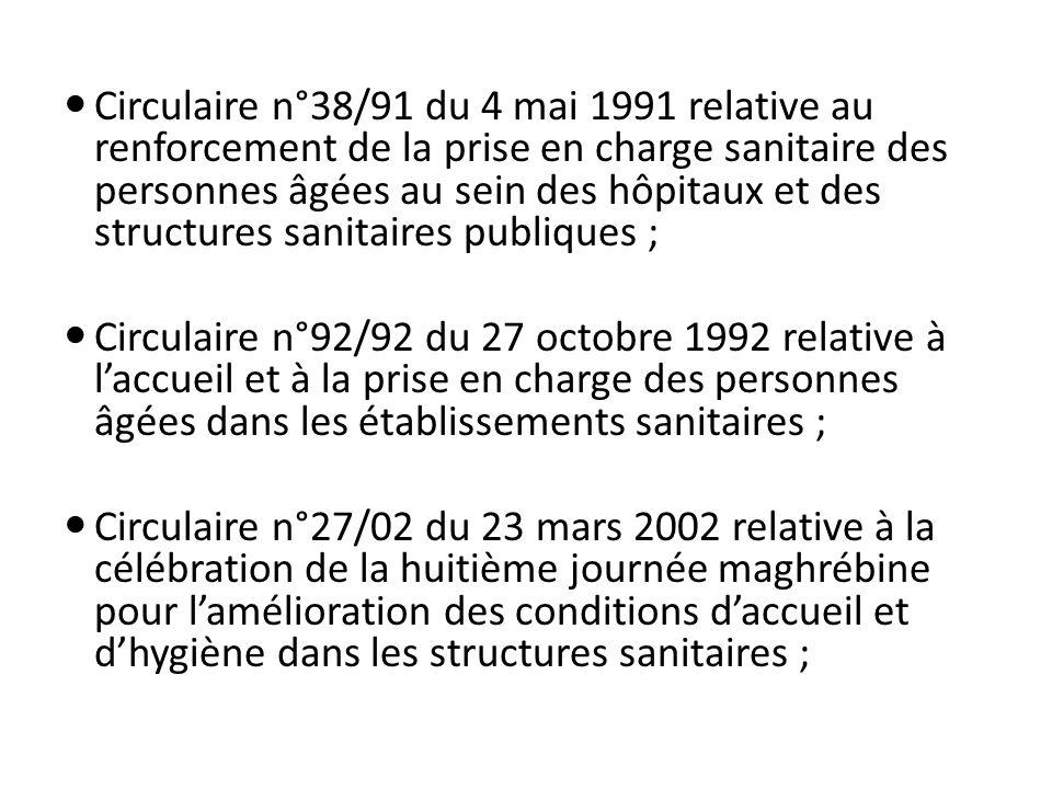 Circulaire n°89/08 du 30 septembre 2008 relative à la prise en charge des résistants dans les structures sanitaires publiques; Circulaire n°52/08 du 14 juin 2008 relative à laccueil et à la prise en charge des personnes âgées dans les structures sanitaires publiques.