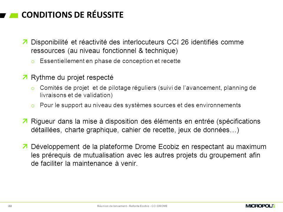 CONDITIONS DE RÉUSSITE Disponibilité et réactivité des interlocuteurs CCI 26 identifiés comme ressources (au niveau fonctionnel & technique) o Essenti