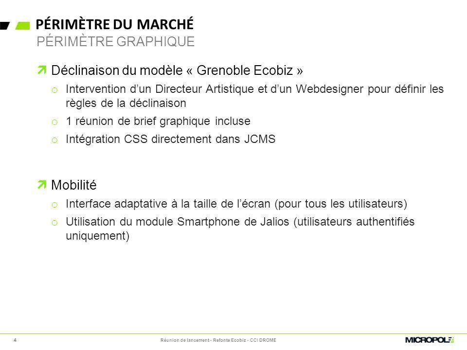PÉRIMÈTRE DU MARCHÉ Déclinaison du modèle « Grenoble Ecobiz » o Intervention dun Directeur Artistique et dun Webdesigner pour définir les règles de la