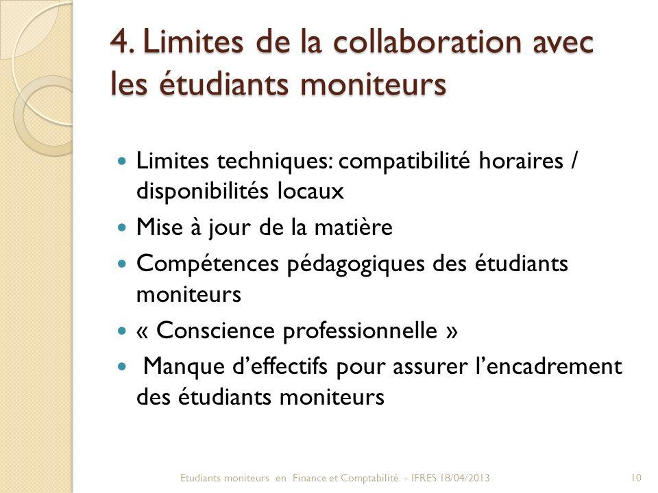 4. Limites de la collaboration avec les étudiants moniteurs Limites techniques: compatibilité horaires / disponibilités locaux Mise à jour de la matiè