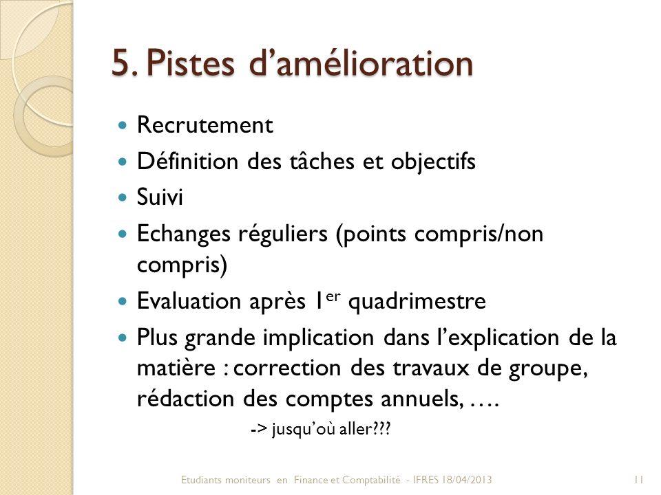 5. Pistes damélioration Recrutement Définition des tâches et objectifs Suivi Echanges réguliers (points compris/non compris) Evaluation après 1 er qua